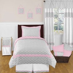 Sweet Jojo Designs - Sweet Jojo Designs Girls 'Chevron' 4-piece Twin Comforter Set - This stylish twin girl bedding set uses a sensational collection of Sweet Jojo Designs exclusive cotton fabrics. This trendy set features a chevron pattern with a light pink trim,making it perfect for your little fashionista.