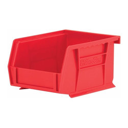 "Akro-Mils - Red Stackable Storage Bins, 5.5""- Set of 24 - AkroBins optimize your storage space. Control inventories, shorten assembly times and minimize parts handling. Heavy-duty polypropylene bins hang from Akro-Mils racks, panels, rails, and carts; securely stack atop each other and sit on shelving. AkroBins are unaffected by weak acids and alkalis. Sturdy, one-piece construction is water, rust and corrosion proof and guaranteed not to break. Autoclavable up to 250Degrees F."