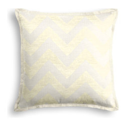 Gold Metallic & Ivory Chevron Tailored Pillow - The Tailored Throw Pillow is an updated, contemporary pillow style with the center fabric framed by a thin contrast flange.  Voila! -it's artwork for your couch!  We love it in this pale gold metallic chevron on white linen that adds subtle shimmer to any space.