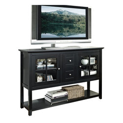 Walker Edison - Walker Edison 52 in. Wood Console Table TV Stand in Black - Walker Edison - TV Stands - W52C4CTBL - The unique height and style of this console table makes it a perfect fit for any room in the house whether for entertaining dining or decoration. Console will accommodate most flat-panel TVs up to 55 in. and adjustable shelves behind attractive glass-paned doors provide ample storage space for accessories. Console also features two multi-functional drawers and an attractive bottom shelf. Crafted from high-grade MDF and painted in a rich black finish this stand is sure to please.