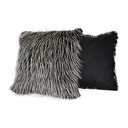 Sherry Kline - Sherry Kline 20-inch Silver Fox Faux Fur Decorative Pillows (Set of 2) - Give a designer look to any sofa, bed, or chair with this decorative faux-fur pillow set from Sherry Kline. The 20' x 20' pillows have the look of fox fur in high-contrast black and off-white which will make your space look trendy and modern.