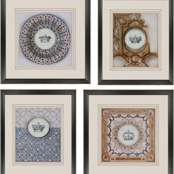 Paragon Decor - Crown Plates Set of 4 Artwork - Silver-etched plates take center stage.  Sizes are 22h x 19h/21h x 21w.