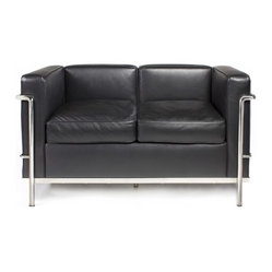 Le Corbusier Petit Confort Two-Seat Sofa - LC2 in Modena Black Leather by Rove C