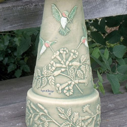 Burley Clay Products - Hummingbird Pedestal Only (+ FRT) - Hummingbird Pedestal. Hand Painted. Made from natural materials and unique glazes. Subject to slight variations in color and texture that enhances the natural beauty; in no way do these variations compromise the products structural integrity.