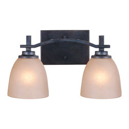 Golden Lighting - Hampden 2-Bulb Vanity Light - Bulbs not included. Requires two 100 watt medium base incandescent type A bulbs. Electric wire gauge: 200 degree C 1332# B/W. Transitional style. Birch glass shade. Hand painted. UL listed damp location for use in bathroom or under an eave. Two E26 sockets. Total wattage: 200. Made from steel. Dark natural iron color. Wire length: 8 in.. Shade: 5.25 in. Dia. x 5 in. H. Backplate extension: 0.62 in.. Backplate: 7.75 in. W x 4.75 in. H. Extension: 7.5 in.. Overall: 14.75 in. W x 8.5 in. H (7.04 lbs.). Warranty. Assembly InstructionsPopularly used in halls, stairways, entrys and as an accent.