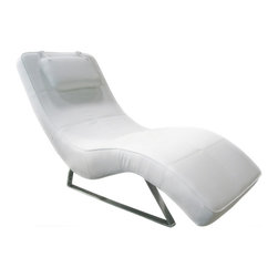 White Line Imports - Soho Chaise in White Leatherette - This modern and well-designed chaise is covered in luxurious white leatherette and supported by chrome legs. Soho Chaise in White Leatherette features wave design that creates a modern and refined look.