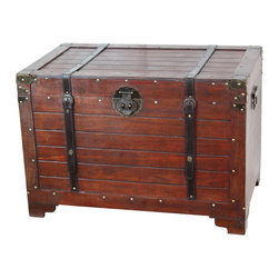 Old Fashioned Wood Storage Trunk Wooden Treasure Hope Chest - Decorative trunk that is great for storage and decoration. Old Fashioned hardware adds to antique look Weight: Approximately 15 to 20 lbs This warm and welcoming trunk brings back days of long ago. Remember that old steamer trunk up in your Grandmother's attic, our trunks will bring back those memories and help you create some new ones too. We are able to offer you a great value on beautiful handcrafted chests by importing directly from the manufacturer. The handcrafted nature of this product will produce minor differences in design and sizing. Subtle variations will occur from piece to piece, adding to its unique qualities. Measurements may vary slightly. Our hope chest, trunk boxes are hand-crafted and tailored to enhance the existing decor of any room in the home. The chest is a classic piece of art and will provide an elegant way to store any item in your home. � � �