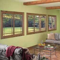 2 and 3 Lite Replacement Windows - 2 and 3 Lite Replacement Sliders with perimeter prairie grid and interior wood finish