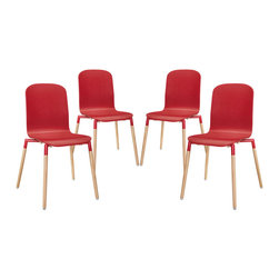 Stack Wood Dining Chairs Set of 4 - Acquaint yourself with an intelligent piece concealed behind sheer simplicity. Stack exhibits fluid lines and an organic form in a seamless transition from the abstract to the definite. Made from a painted durable steel top and solid beech wood legs, Stack coalesces both form and purpose in a harmoniously designed piece that matches well in any uncomplicated decor.