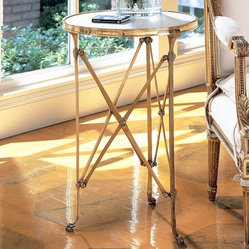 Global Views Directoire Table In Brass And White Marble