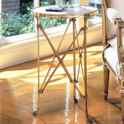 Global Views Directoire Table In Brass And White Marble - A delicate and elegant side table cast in brass and white marble. This table takes up very little space yet packs a glamorous punch.