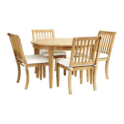 """Ballard Designs - Madison 5-Piece Round Dining Set - Includes 48"""" Round Classic Teak Table & 4 Madison Side Chairs. Coordinates with our Madison Dining Collection & Madison Lounge Collection. Table holds standard umbrella with teak plug. Slats allow water to drain through. Include Basic Sand cushions. With its crisply tapered legs and gracious proportions, our Madison 5-Piece Dining Set has a timeless look designed to last. Part of our Madison Seating and Classic Teak Table collection, it's hand crafted of solid teak, making it naturally resistant to harsh weather and damaging insects. If left untreated, teak finish will mellow to a warm silvery gray over time. Madison Teak Dining Set features: . . . . . Assembly required. Replacement cushions available. Use of an outdoor furniture cover is recommended to extend the life of your piece."""