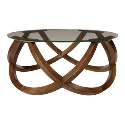 ecofirstart - Infinite Low Table - The symbol of infinity stretched here is more closed in obeying the same rules and adopting the same angle as the large table: Four half-circles of solid walnut joint together to form the support of four cross topped with a glass top 10 mm of annealing. The finish is an encaustic (beeswax) hot applied according to ancestral methods, providing good durability.