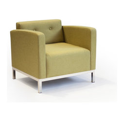 Lounge22 - Basic Lounge Chair in Marsielle Wasabi - This amazing ideally proportioned chair fits perfectly in any living room or office setting! Elegance and unabashed simplicity adorns this modern Basic Lounge Chair. Crafted from FSC-Certified wood and a steel frame, this piece exudes a mix of unabashed optimality and enduring grace. The Basic Chair, like its companion Basic Sofa, deserves attention without demanding fanfare.