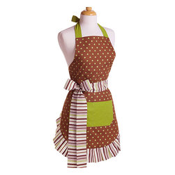 Flirty Aprons - Cocoa Lime Women's Original Flirty Apron - A polka-dot theme makes this apron fun for all ages. This apron has solid green lining and is double layered 100-percent cotton for durability in the kitchen. Long, thick ties lend a polished dimension to the waist while allowing adustable length.