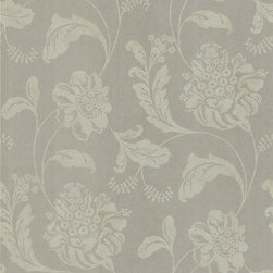 Kenneth James - Serene Affabre Jacobean Wallpaper - Mica-infused pewter creates an air of glamour on this wallpaper that's perfect for your bedroom or living room. The large-scale floral print in neutral tones works anywhere in your home. Each wallpaper bolt is 20.5 inches wide and 33 feet long, covering about 56 square feet of your room.