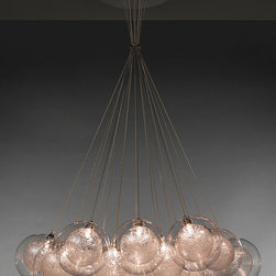 Kadur Cluster Chandelier - Kadur Cluster Chandelier with 19 Pendants. Shown with the Kadur in Clear Drizzle with Stainless Steel Canopy.