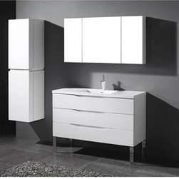 """Madeli - Madeli Milano 48"""" Bathroom Vanity for X-Stone Integrated Basin - Glossy White - Madeli brings together a team with 25 years of combined experience, the newest production technologies, and reliable availability of it's products. Featuring sleek sophisticated lines Madeli vanities are also created with contemporary finishes and materials. Some vanities also feature Blum soft-close hardware. Madeli also includes a Limited 1 Year Warranty on Glass Vessels, Basin, and Counter Tops. You'll fall in love with the architectural beauty of the Milano Collection. Featuring clean lines and royally standing on polished chrome legs, the contemporary style combines texture, form and function to create the perfect backdrop for your modern bath. Designed with European-style integrated handles, and complete with full extension Grasshopper soft closing drawers, you'll also find it offers unmatched functionality. Quality is evident in the refined wood construction and polyurethane-protected finish. Choose a rich Walnut or Ash Grey finish for a warm contemporary look, or Glossy White finish to achieve that modern style. It's your choice!Features Three Drawer Vanity Soft-close drawer guides Four Polished Chrome Feet Glossy White finish 1-1/2""""H X-Stone Solid Surface Countertop/basin with overflow drilled for single-hole or 8"""" widespread faucetsFaucet and drain are not included Matching mirror and medicine cabinet available Limited 1 Year Warranty on Glass Vessels, Basin, and Counter Tops How to handle your counter Spec Sheet Installation Instructions -->"""