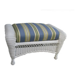Spice Island Wicker - Outdoor Wicker Ottoman with Cushion (Nirvana Stripe Toffee - All Weather) - Fabric: Nirvana Stripe Toffee (All Weather)For accent, include this ottoman with the other pieces in this ensemble.  It�۪s made for outdoor enjoyment with aluminum framing and all-weather wicker with a simple arched skirt and classic weaves.  Choose a cushion pattern and color to complement your space. * White Finish. Includes Cushion. All Weather Wicker - Woven Vinyl over Aluminum frame
