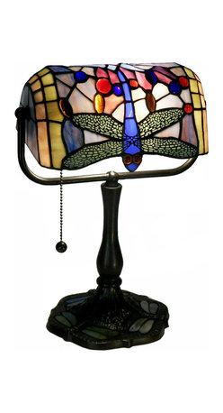 Warehouse of Tiffany - Indoor 1-light Dragonfly Bronze Banker Desk Lamp - Enhance your desk or end table with this brightly colored unique banker desk lamp, which features a dragonfly spread out across the glass. This lamp's bronze finish adds an old-fashioned touch.