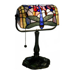 Warehouse of Tiffany - Dragonfly Bronze Banker Desk Lamp - Enhance your desk or end table with this brightly colored unique banker desk lamp, which features a dragonfly spread out across the glass. This lamp's bronze finish adds an old-fashioned touch.