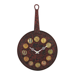 Rustic Red Frying Pan Kitchen Wall Clock - This frying pan clock adds a rustic accent to your home or restaurant. Made of metal, with a red crackle finish, it measures 23 1/4 inches tall, 14 1/2 inches in diameter, and 2 1/2 inches deep. The colorful glass bead numbers and contrasting white hands are easy to read, while the clock features quartz movement and runs on 1 AA battery (not included). A built-in hanger makes the clock easy to mount to the wall with a single nail or screw. It makes a great gift for friends that love to cook, and is sure to be admired.
