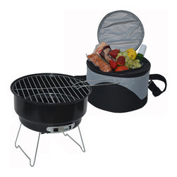"Picnic at Ascot - Cooler & Grill Set - Portable charcoal grill & Cooler set -  The Clever round 11.5"" diameter carrier has a watertight 6 can cooler in the top and stores the grill in the bottom. Grill has a 10"" diameter chrome grill top, 9"" diameter chrome charcoal grate, black enamel metal base with adjustable air vent, grill handle,  & chrome legs. Carrier includes a front pocket, durable rubber hand grip & adjustable shoulder strap (removable) to carry. Very compact."