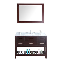"""Ari Kitchen and Bath - Manhattan 48"""" Espresso Transitional Style Bathroom Vanity and Mirror - Beautiful transitional style bathroom vanity by Ari Kitchen and Bath, a new brand manufacturing quality bathroom decor at affordable prices. The new 48"""" Manhattan comes with 1"""" edge Italian carrara marble top, backsplash, rectangle undermount CUPC basin, soft-closing drawers and doors, concealed drawer hinges, espresso frame mirror and rich espresso solid wood bathroom cabinet. Absolutely no MDF or Particle board on all of our bathroom vanities. All of our bathroom vanities come completely assembled by the manufacture, minimal assembly required."""