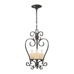 World Imports - Model 5953-97: Stafford Spring Dark Antique Bronze Three-Light Lantern Pendant - Hand-wrought iron straps are doubled on the island light and chandelier to create an inviting look that is not too heavy, yet styled for Old World charm in our Dark Antique Bronze Finish. Hand-blown scavo glass candles illuminate with an ambient soft glow.  -10 ft. chain, 12 ft. wire  -Canopy: 5 D World Imports - 460984