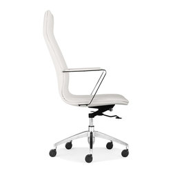 Zuo Modern - Zuo Modern Herald Modern High Back Office Chair X-741602 - One of our sleekest office chairs, the Herald High Back Office Chair is clean and simple. Soft leatherette covers a chromed steel rolling frame. Comes in black, white or gray.