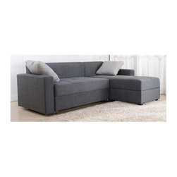 Dorel Home Products - Sutton Convertible Sectional Sofa Bed - Clean track arm design. Comfortable and stylish seating. Pull seat forward. Remove seat cushions and fold back down. Chaise can be left or right position. Converts quickly and easily to bed position. Chaise lifts to reveal large storage. Charcoal twill fabric upholstery. Warranty: One year. Sofa: 49 in. L x 29 in. W x 26 in. H (110 lbs.). Chaise: 60 in. L x 27 in. W x 26 in. H (114 lbs.). Overall: 85 in. W x 60 in. D x 33 in. H (224 lbs.). Instruction ManualThis versatile, modern sectional sofa seats two to three people comfortably and durable as a sofa bed. Back legs add support when in sleeping position. The chaise portion of the sectional can be placed on either side of the loveseat which makes it versatile for many living room configurations.