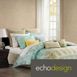 Echo - Echo 'Paros' 300 Thread Count Cotton 3-piece Duvet Cover Set - Made from 300 thread count cotton sateen,this duvet cover features a background of teal,inspired by the color of the sky over the Greek island of Paros. An overscaled paisley motif repeats across the bottom of the duvet.
