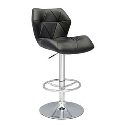 Chintaly Imports - Black Pneumatic Gas Lift Height Swivel Stool #0310-AS - This fashion-forward, adjustable height stool just might be the most comfortable piece of art you could have! With beautiful black upholstery and sturdy chrome hardware, this stool is perfect in the minimalist kitchen, the modern office or in a salon or home bar.
