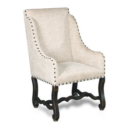 Hooker Furniture - Decorator Chair - Dining Arm Chair 86 - White glove, in-home delivery included!  Fabric: Churchill Sand  Finish: Ebony  Side chair is in a set of two chairs.  Arm chair sold individually.
