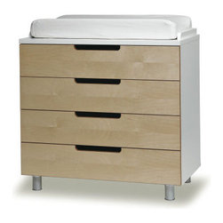 Oeuf 4 Drawer Changing Table - Versatile and uncomplicated, this  design-conscious and green 4-drawer changing table is good for the environment, and your growing family. Created by a French-American design couple, this sleek no-knob dresser doubles as a changing table with the addition of a secured changing pad.