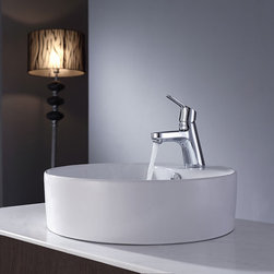 Kraus - Kraus Bathroom Combo Set White Round Ceramic Sink/Faucet Chrome - Add a touch of elegance to your bathroom with a ceramic sink combo from Kraus Stylish ceramic sink and Ferus vessel faucet will complement any bathroom decor
