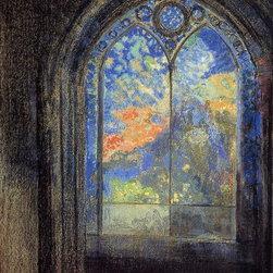 """Odilon Redon Stained Glass Window (also known as The Mysterious Garden) - 16"""" x - 16"""" x 20"""" Odilon Redon Stained Glass Window (also known as The Mysterious Garden) premium archival print reproduced to meet museum quality standards. Our museum quality archival prints are produced using high-precision print technology for a more accurate reproduction printed on high quality, heavyweight matte presentation paper with fade-resistant, archival inks. Our progressive business model allows us to offer works of art to you at the best wholesale pricing, significantly less than art gallery prices, affordable to all. This line of artwork is produced with extra white border space (if you choose to have it framed, for your framer to work with to frame properly or utilize a larger mat and/or frame).  We present a comprehensive collection of exceptional art reproductions byOdilon Redon."""