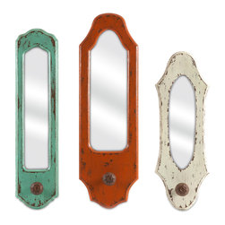 Imax Corp - Gaylynn Mirror w/ Hanger - Set of 3 - This set of three mirrors is a great way to add color to small wall areas! In fun antiqued shades and slim shapes, each mirror includes drawer pull inspired hangers for your favorite apron, cooking utensils or key chains.