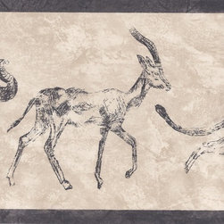 York Wallcoverings - Black Cream African Animals Wallpaper Border - Wallpaper borders bring color, character and detail to a room with exciting new look for your walls - easier and quicker then ever.