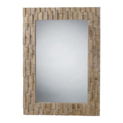 """Gavin Wood Mosaic Mirror - %The Gavin Wood Mosaic Mirror by Arteriors presents a serene visual impact with the exquisitely unique Lighting effect of inner and outer squares. Inspired by one of geometry's most perfect shapes, the square, a powerful icon representing solid structure and form in this mirror masterpiece with natural wood finish. """"Everything starts with the product and it must be unique"""" Mark Moussa, Arterior's President. Arterior's products are a result of a close collaborate effort between the Arteriors Home design team and many designers around the world."""