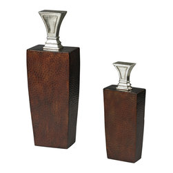 Sterling Industries - Mid Century Inspired Jars with Stoppers - This mid century inspired jars with stoppers will enhance your home with a perfect mix of form and function. Made of composite material. Available in copper base with brown hand applied antique/silver leaf color and peconic finish.