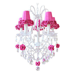 5 Light Chandelier with Hot Pink Fuchsia Rose Shades - This gorgeous 5-light chandelier has been painted white and adorned with spectacular Dupioni Silk