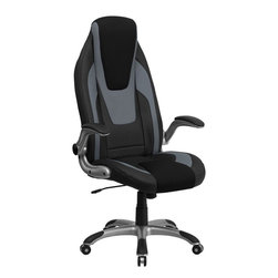 """Flash Furniture - High Back Vinyl Executive Office Chair with Mesh Insets and Flip Up Arms - This Contemporary Ergonomic High Back Swivel Office Chair features flip up arms and a silver nylon base with black caps that prevent feet from slipping. The black vinyl upholstery is highlighted with gray vinyl and black mesh insets in the headrest and seat to give this a unique look to make your chair stand apart.; High Back Ergonomic Swivel Chair; Soft Black Vinyl Upholstery with Gray Trimming; Black Mesh Inset in Headrest and Seat; Built-In Lumbar Support; Built-In Lumbar Support; Tilt Lock Mechanism; Tilt Tension Control; Pneumatic Seat Height Adjustment; Padded Flip Up Arms; Heavy Duty Silver Nylon Base with Black End Caps; Dual Wheel Carpet Casters; CA117 Fire Retardant Foam; Weight: 43 lbs; Overall Dimensions: 28""""W x 29""""D x 49.75"""" - 53.5""""H"""