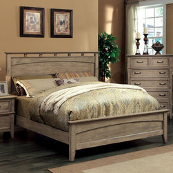 Furniture of America - Shunner Pike Low Profile Bed - Weathered Oak Multicolor - IDF-7351L-Q - Shop for Beds from Hayneedle.com! Channel a beachy look in your bedroom with this Shunner Pike Low Profile Bed - Weathered Oak. Constructed of quality durable solid wood it showcases a weathered oak finish that mimics beach wood. The open slat designed headboard and footboard offer engaging visual interest. It also boasts a unique low design footboard.Bed Dimensions:Queen: 66W x 86D x 54H in.King: 82W x 86D x 54H in.California King: 82W x 90D x 54H in.About Enitial LabBased in California Enitial Lab has established itself as a premier provider of fine home furnishings. The people behind Enitial Lab brand are moved by passion hard work and persistence. They're always striving to design the latest piece keeping in mind their mission to make quality furniture available to urban-minded shoppers without compromising the packaging integrity. Enitial Lab offers unique coordinated and affordably designed furniture; they're a one-step resource in the furniture industry for both high-quality pieces as well as secure and professional packaging.