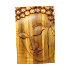Kammika - Buddha Panel Pacceka Sust Wood 20x30 inch Ht w Eco Friendly Livos Oak Oil Finish - This beautiful Buddha Panel Pacceka 20 inch length x 30 inch height x approximately 4 inch thickness, including the approximately 2 inch protruding nose, Sustainable Monkey Pod Wood in Eco Friendly, Natural Livos Oak Oil Finish Wall Panel presents Pacceka - the realization of the Dhamma is like a dream seen by a deaf mute. Referring to one who has attained to supreme and perfect insight, but who does so without proclaiming it to the world - hence the equivalent Silent Buddha often found in translations. This panel has been carved from joined panels. The panel has two embedded flush mount Keyhole hangers on the topmost securing crossbar on the back for a protruding screw from your wall. All are hand carved by craftspeople in Thailand, who spend countless hours meticulously carving these wonders of wood made of Monkey Pod wood grown specifically for the woodcarving industry. Livos Oak tone oil creates a water resistant and food safe finish, these natural oils are translucent, so the wood grain detail is highlighted; these are then polished to a matte finish. The light and dark portions of wood turn to darker shades of brown over time and the alkaline in the oils creates a honey orange color. Each piece is crafted from sustainable wood; we make minimal use of electric hand sanders in the finishing process. All products are dried in solar or propane kilns. No chemicals are used in the process, ever. After each piece is carved, dried, sanded, and rubbed with Livos oil, they are packaged with cartons from recycled cardboard with no plastic or other fillers. The color and grain of your piece of Nature will be unique, and may include small checks or cracks that occur when the wood is dried. Sizes are approximate. Products could have visible marks from tools used, patches from small repairs, knot holes, natural inclusions or holes. There may be various separations or cracks on your piece when it arrives. There may be some slight variation in size, color, texture, and finish. Only listed product included.