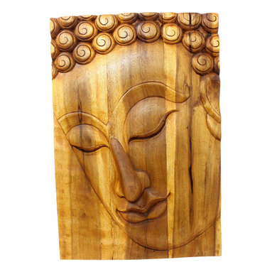 Kammika - Buddha Panel Pacceka Sust Wood 20x30 inch Ht w Eco Friendly Livos Oak Oil Finish - This beautiful Buddha Panel Pacceka 20 inch length x 30 inch height x approximately 4 inch thickness, including the approximately 2 inch protruding nose, Sustainable Monkey Pod Wood in Eco Friendly, Natural Livos Oak Oil Finish Wall Panel presents Pacceka - the realization of the Dhamma is like a dream seen by a deaf mute. Referring to one who has attained to supreme and perfect insight, but who does so without proclaiming it to the world - hence the equivalent Silent Buddha often found in translations. This panel has been carved from joined panels. The panel has two embedded flush mount Keyhole hangers on the topmost securing crossbar on the back for a protruding screw from your wall. All are hand carved by craftspeople in Thailand, who spend countless hours meticulously carving these wonders of wood made of Monkey Pod wood grown specifically for the woodcarving industry. Livos Oak tone oil creates a water resistant and food safe finish, these natural oils are translucent, so the wood grain detail is highlighted; these are then polished to a matte finish. The light and dark portions of wood turn to darker shades of brown over time and the alkaline in the oils creates a honey orange color. Each piece is crafted from sustainable wood; we make minimal use of electric hand sanders in the finishing process. All products are dried in solar or propane kilns. No chemicals are used in the process, ever. After each piece is carved, dried, sanded, and rubbed with Livos oil, they are packaged with cartons from recycled cardboard with no plastic or other fillers. The color and grain of your piece of Nature will be unique, and may include small checks or cracks that occur when the wood is dried. Sizes are approximate. Products could have visible marks from tools used, patches from small repairs, knot holes, natural inclusions or holes. There may be various separations or cracks on your p
