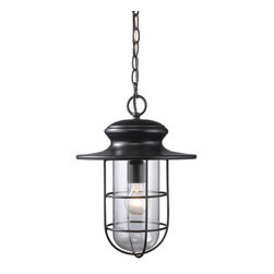 ELK - ELK 42286/1 Outdoor Pendant - Years Ago, Nautical Lighting Was Purpose Built To Withstand Heavy Storms And Battering Winds.  Inspired By Those Nostalgic Lighting Fixtures, This Series Has A Simple And Charming Design Finished In Matte Black With Clear Blown Glass.