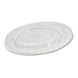 BOARDWALK - 20OZ CLEAR FLAT LID W/STRAW SLOT 12/85 - Produced from widely accepted type-1 PET plastic resin. Lightweight; 100% recyclable: Extensive U.S. Recycling Structure.. . . . Fits 12- and 14-oz. Squat Cups, and 20-oz. Cups. BWK YP-1214C, BWK 20CC. . . Plastic Flat Lids. Dimensions: Height: 1, Length: 1.76, Width: 1. Country of Origin: US   CAT: Foodservice Cups/Lids Plastic Cup Lids