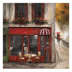 YOSEMITE HOME DECOR - Cafe Des Amis - This canvas will transport you to a cozy European cafe with its romantic red facade and outdoor dinning table. The exterior name reads CAFE DES AMIS. There is a walkway along side the two story building where you'll spot a couple taking cover under an umbrella.