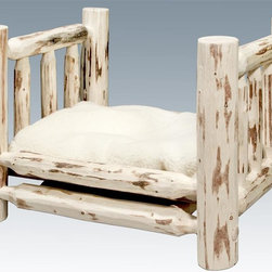 Montana Woodworks - Small Pet Bed with Mattress - Hand crafted. Skip peeled by hand using old fashioned draw knives. Heirloom quality. Solid lodge pole pine. Made from U.S. solid grown wood. Lacquered finish. Made in U.S.A.. Assembly required. Mattress: 24 in. L x 16 in. H. Overall: 26 in. L x 21 in. W x 17 in. H (26 lbs.). Warranty. Use and Care InstructionsMontana Woodworks incredibly popular pet bed allows your pet to snuggle into a luxurious, fleece lined mattress for a comfortable healthy rest. The artisans at Montana Woodworks use the mortise and tenon joinery system to ensure this item will withstand years of use. Each piece signed by the artisan who makes it.
